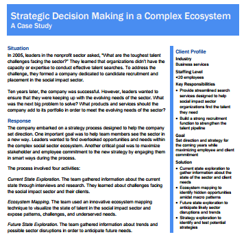 Strategy in Complex Ecosystem Case Study